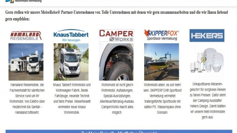 MeiseReise® Partner Wohnmobil Vermietung